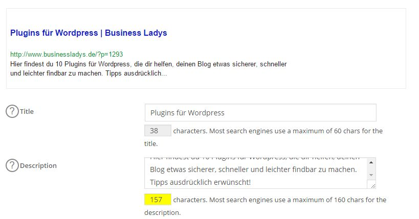 Title und Description mit All in one SEO erstellen