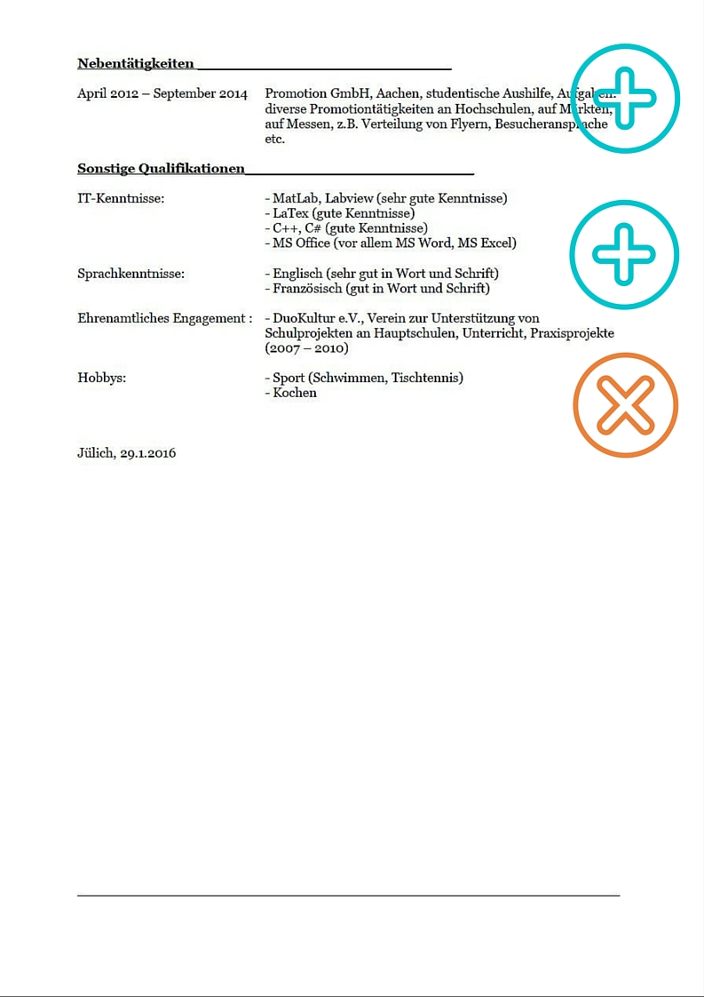 Lebenslauf Praktikum Ingenieurin, Seite 2