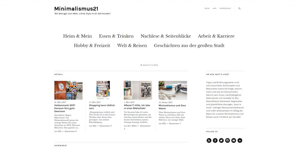 """Screenshot des Blogs """"Minimalismus21"""""""