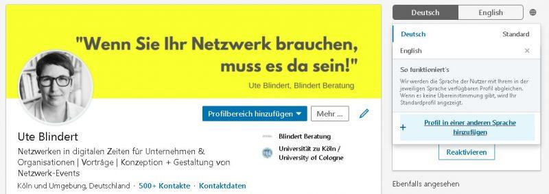 LinkedIn: Profil in anderen Sprachen anlegen. Bild: Ute Blindert, Porträt: Tanja Deuß/knusperfarben.de